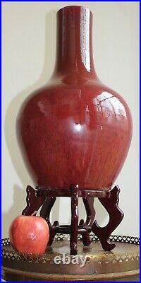 Large Antique Chinese Vase OxBlood Flambe Glaze 41 cm Tall