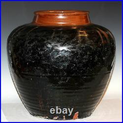 Large Antique Chinese Yuan Ming Dynasty Storage Jar Vase Iron Hare's Fur Glaze