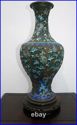 Large Antique Chinese blue floral cloisonne enamel 14 vase