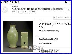 Large Antique Chinese porcelain Longquan Celdon Vase Ming Dynasty Yaozhou type