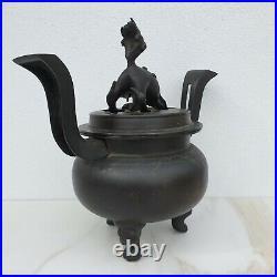Large Antique Japanese Edo Meiji Bronze Metal Dragon & Foo Dog Censer Koro