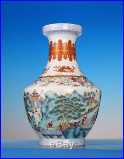 Large Antique Old China Qing Dynasty Enamel Porcelain Vase QianLong Marked FA121
