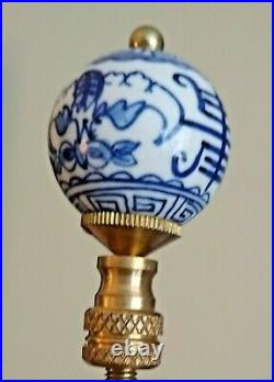 Large Antique Qianlong Period Blue And White Lamp CHINA Circa 1735 to 1796