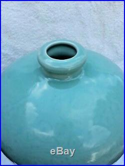 Large Antique Vintage Signed Chinese Celadon Green Incised Porcelain Vase 14