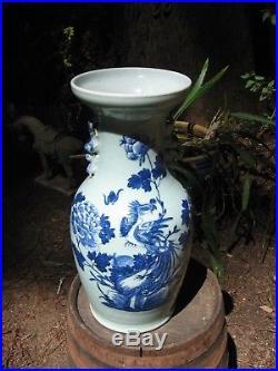 Large Antique blue and White Chinese Celadon Phoenix Vase with Foo Dog Handles