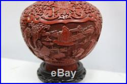 Large Beautiful Cinnabar Chinese Vase