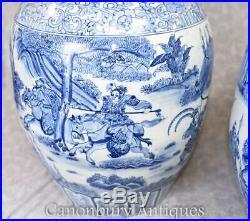 Large Blue And White Porcelain Urns Vases Pots Kangxi