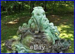 Large Carved Apple Jade Jadeite Chinese Censer Incense 6 Rings with Dragon &Stand