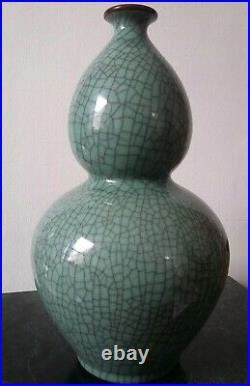 Large Celadon Crackle Glaze Double Gourd Vase Asian Hand Signed Quality Handmade