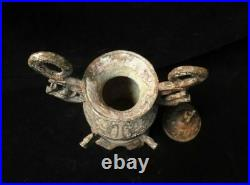 Large Chinese Antique Bronze Dragons Carving Ritual Vessel and Cover