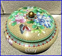 Large Chinese Antique Cloisonne Enamel Jar Box With Flowers