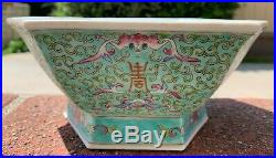 Large Chinese Antique Famille Rose Porcelain Plate Bow With Flower and Lotus