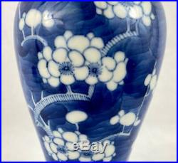 Large Chinese Antique Prunus VaseBlue Ring Kangxi MarkChinaHand Painted