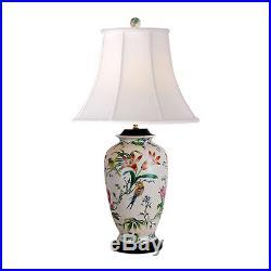 Large Chinese Bird Motif Porcelain Vase Table Lamp 30