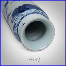 Large Chinese Blue And White Porcelain Vase Figures Painting Marks KangXi 10.7H