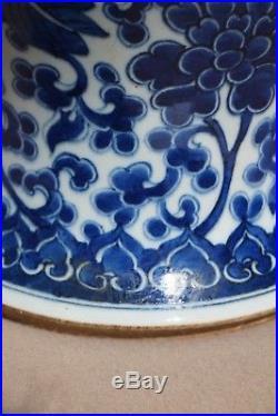 Large Chinese Blue and White Pheonix Vase, Kangxi Style, 20th Century