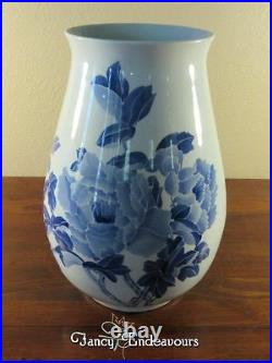 Large Chinese Blue and White Porcelain Calligraphy Vase with Flowers Unsigned