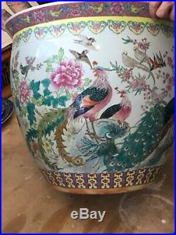 Large Chinese Carp Fish Bowl Jardiniere Antique Painted With Birds And Flowers