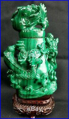 Large Chinese Carved Malachite Lidded Vase
