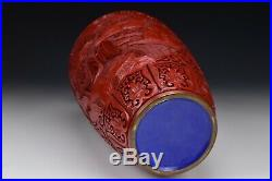 Large Chinese Cinnabar Lacquer Vase with Scenic Views Republic Period