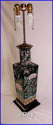 Large Chinese Famille Noir Blue Jay Lan Nyao Vase Lamp Warren Kessler Bethpage
