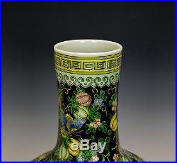 Large Chinese Famille Noire Butterfly Globular Porcelain Vase