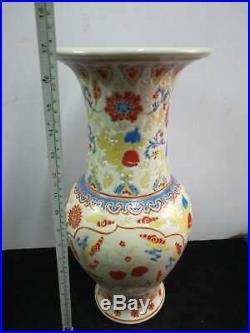 Large Chinese Famille Rose Porcelain Landscape Vases Handpainted Marks QianLong