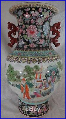 Large Chinese HP porcelain Dragon Handled Vase. 18 ¼ t. Republic, 1912 1940