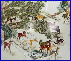 Large Chinese Marked Famille Rose Fencai 100 Deer Hu Form Porcelain Vase TOP