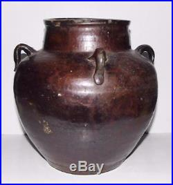 Large Chinese Martaban or Pegu Jar Ming Dynasty 9x8in Burma Stoneware Pot 16thC
