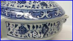 Large Chinese Ming-Style Blue and White Porcelain Moonflask Vase Underglaze Sig