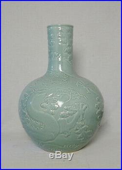 Large Chinese Monochrome Green Glaze Porcelain Vase With Mark M3340