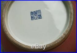 Large Chinese Peachbloom type vase deer head handles Yongzheng seal mark