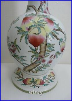 Large Chinese Porcelain Bottle Neck Vase Table Lamp Peaches & Bats