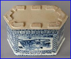 Large Chinese Qing Dynasty 9 Blue White 6 sided Antique Vase Jardiniere Planter