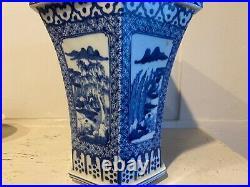 Large Chinese Qing Dynasty 9 Blue White 6 sided Antique Vase Planter