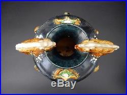 Large Chinese Sancai Drip Glazed Vase Dragon Handles 16 inches