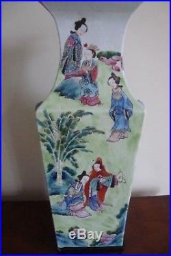 Large Chinese Square Shaped Canton Famille Rose Vase 19c Circa 1870