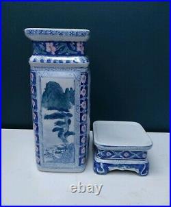 Large Chinese Vase Blue & White Vase Unusual Square Vase & Ceramic Base Stand