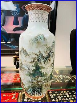 Large Chinese Zhang Zhitang Porcelain Vase hand painted 16 tall