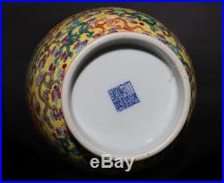 Large Exquisite Antique Hand Painting Enamel Porcelain Vase Mark QianLong FA597