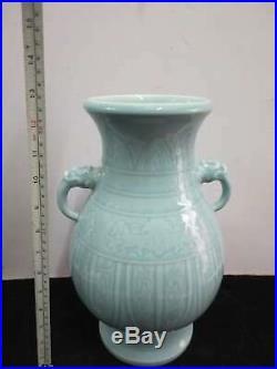 Large Fine Chinese Blue Glaze Porcelain Vases Pot Marks QianLong Qing Dynasty