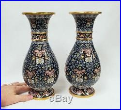 Large Fine Pair of Chinese Cloisonne' Vases