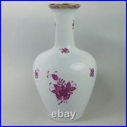 Large Herend Hand Painted Pink Apponyi Chinese Bouquet Basket Weave Vase