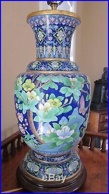 Large Impressive Vintage Blue Cloisonne Lamp Floral, Birds, Butterfly's Large I