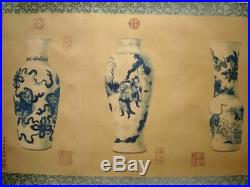Large Long Old Chinese Scroll Hand Painting Vases LangShiNing Marks