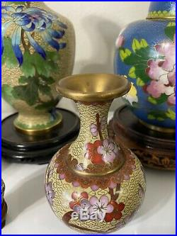 Large Lot Of Chinese Cloisonne Vases, Salt And Pepper, Trinket Boxes Ashtray 24 Pc
