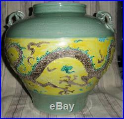 Large Old Chinese Fuhua Celadon Glaze Dragon Vase Planter Pot