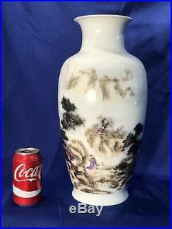 Large Original Vintage chinese famille rose porcelain Vase, tall 17 Inch