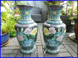 Large Pair Of Republic Period Or Earlier Chinese Cloisonne Vases